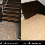 Vila Hanspaulka rekonstrukce dřevených podlah a schodů obrázek před a po
